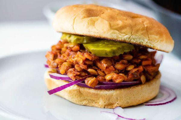 Cooked green lentils in vegan sloppy joes ingredients