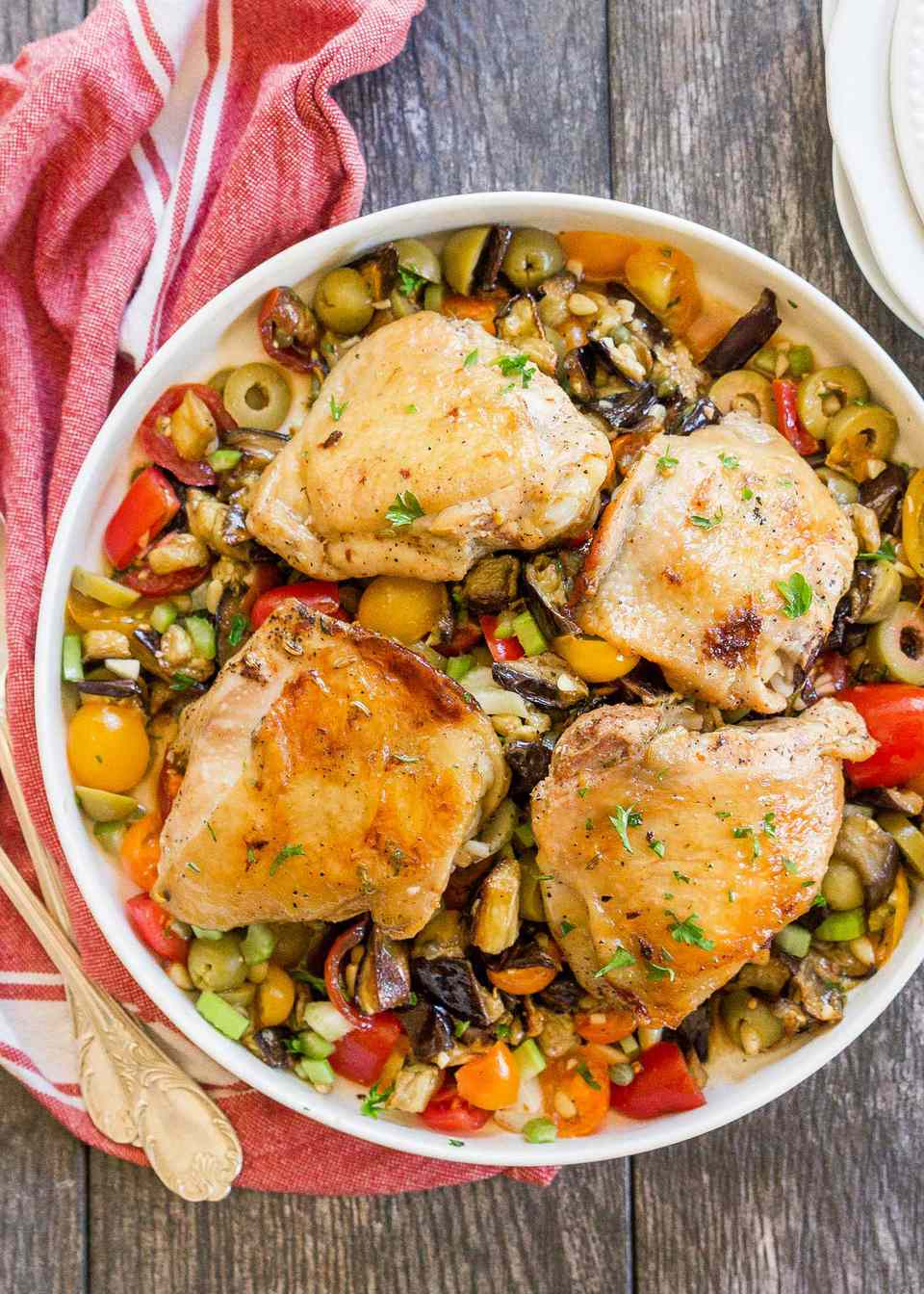 Sheet Pan Chicken with Roasted Eggplant Caponata