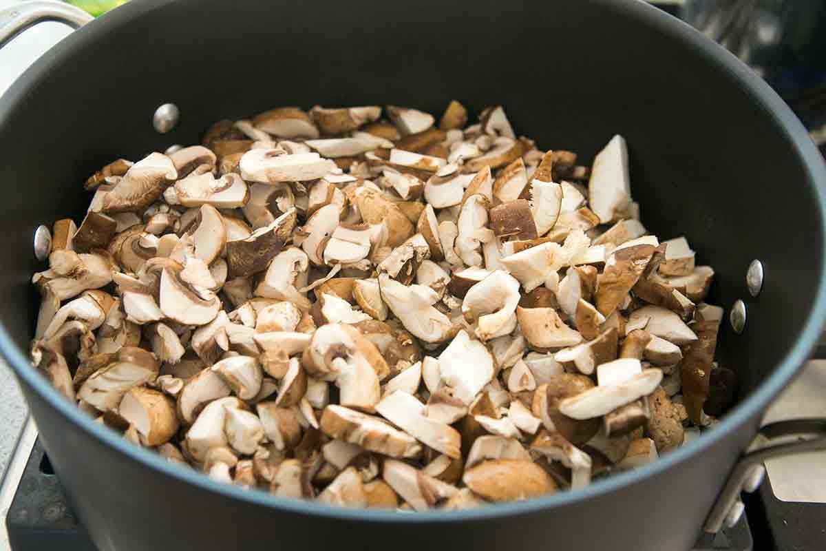 Sautéing mushrooms for Vegetable Lasagna
