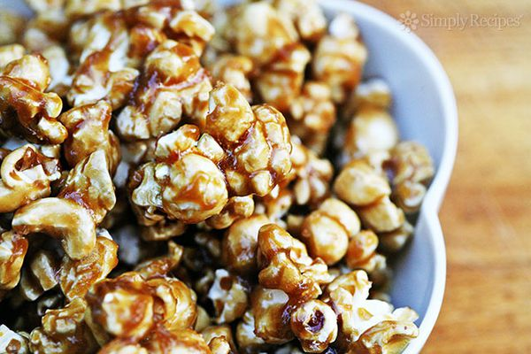 homemade caramel corn in bowl