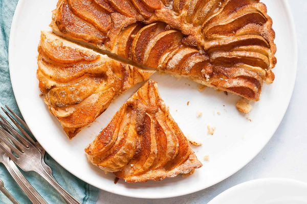 Pear cake on a white plate.