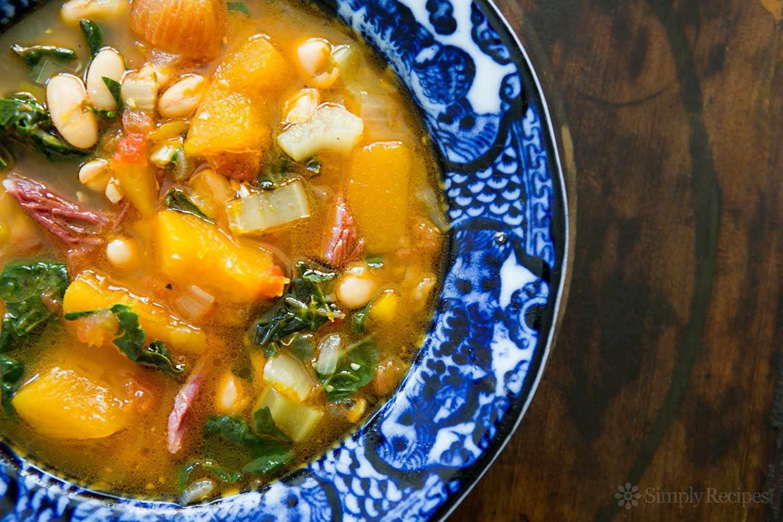 White Bean Soup with Ham, Pumpkin, Chard