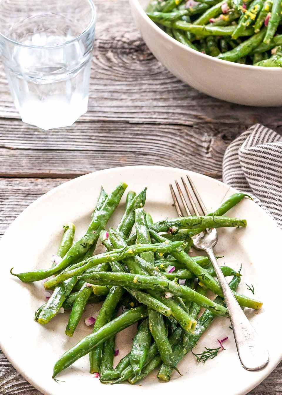 Garden Green Bean Salad - green beans on a plate with a fork