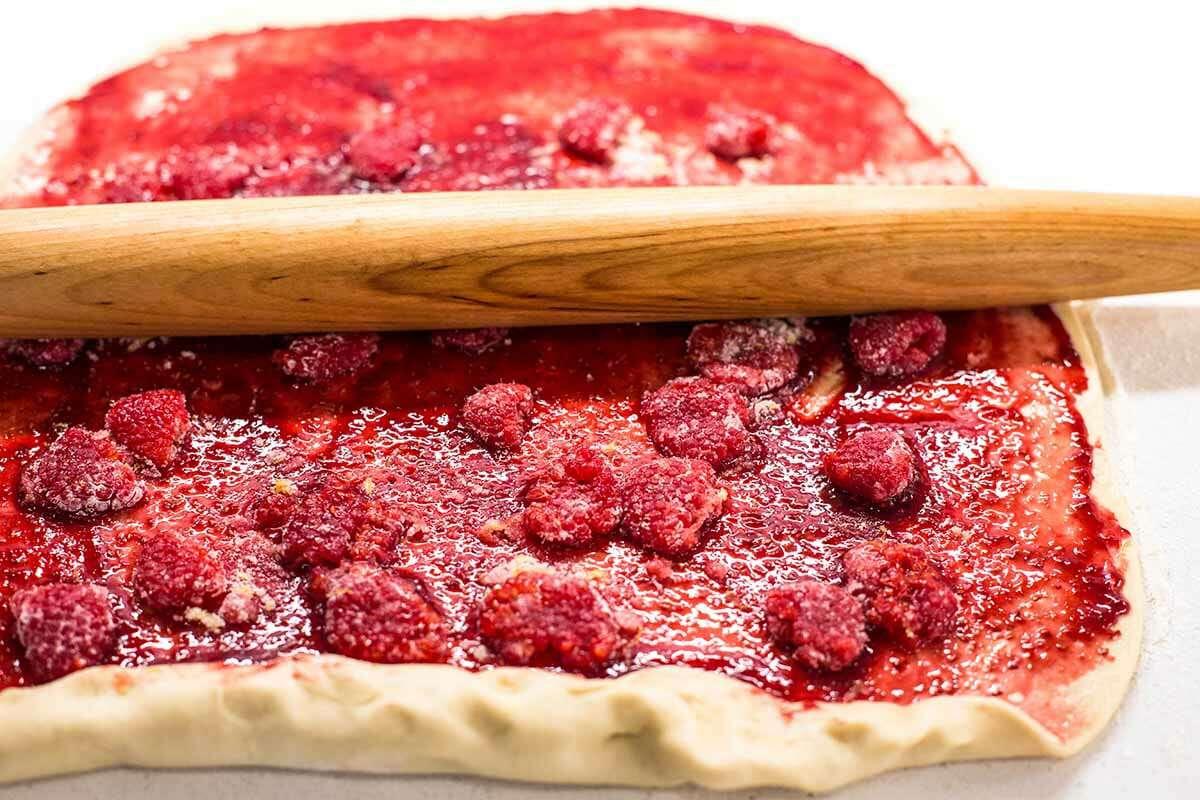 Raspberry Jam Breakfast Rolls roll up the dough