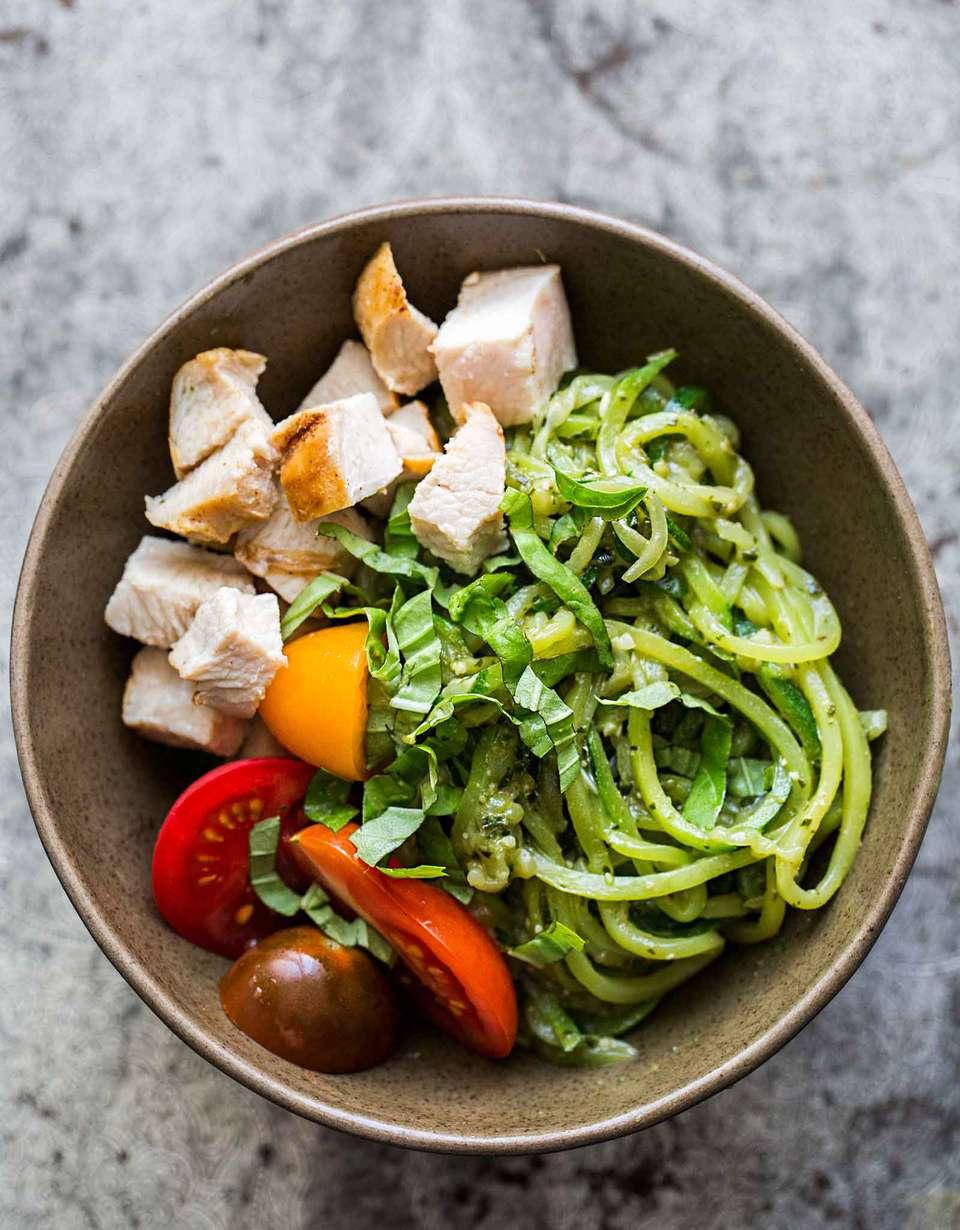 Zucchini Noodle Chicken Pesto Bowl