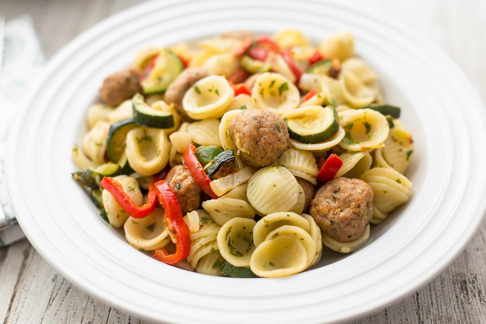 Pasta With Turkey Meatballs and Roasted Vegetables