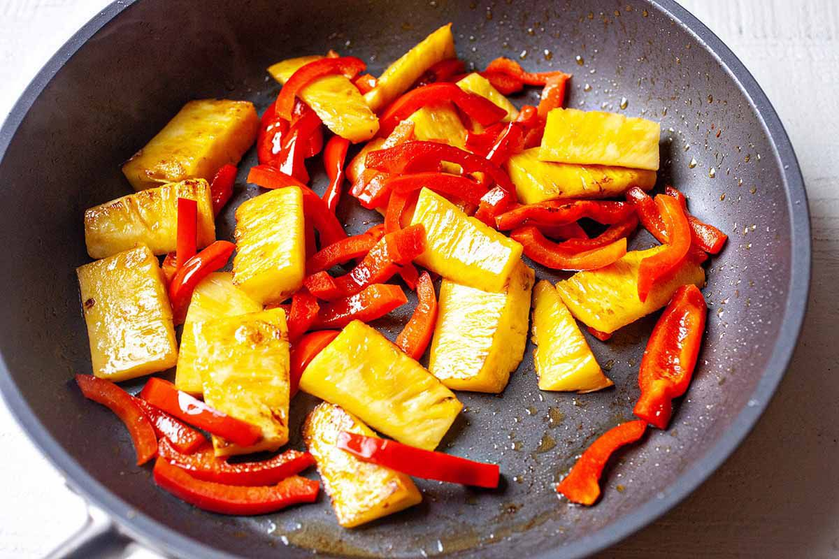 Pork pineapple tacos cook the pineapple and peppers