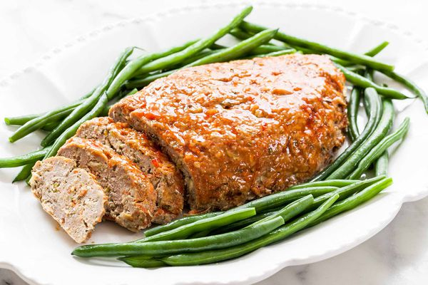 best Turkey Meatloaf cut into slices on a white platter