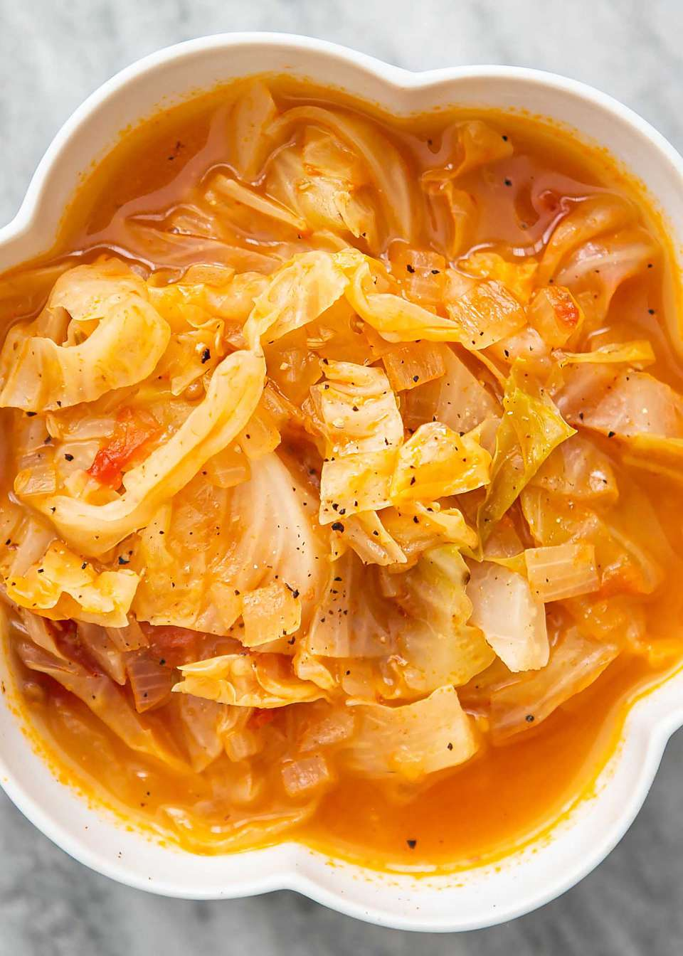 Best Cabbage Soup in a white bowl