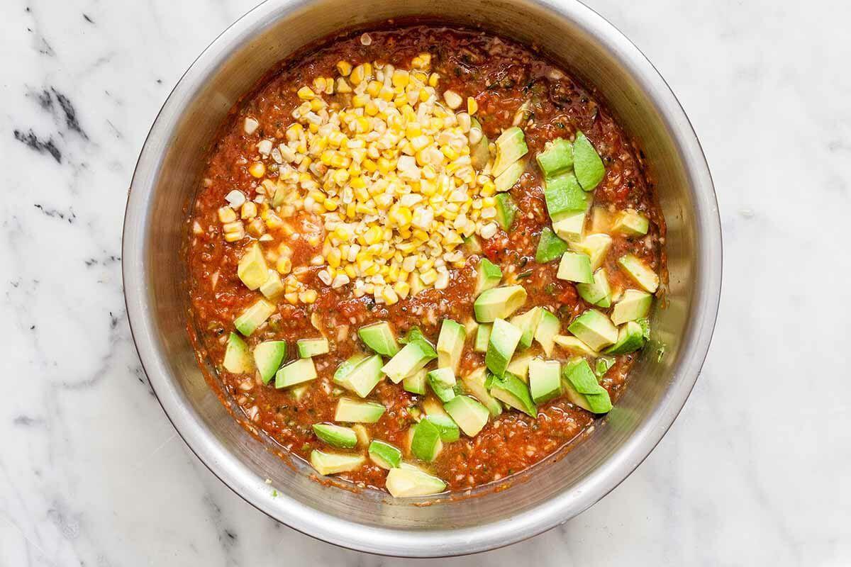 Gaspacho Soup Recipe with Avocado add the avocado and corn