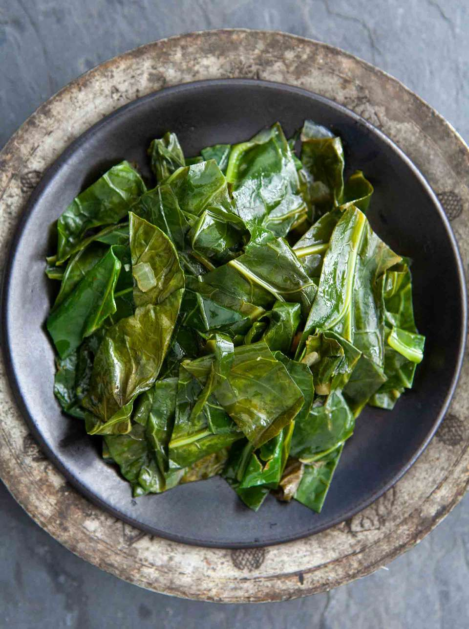 Easy cooked collard greens in a serving plate