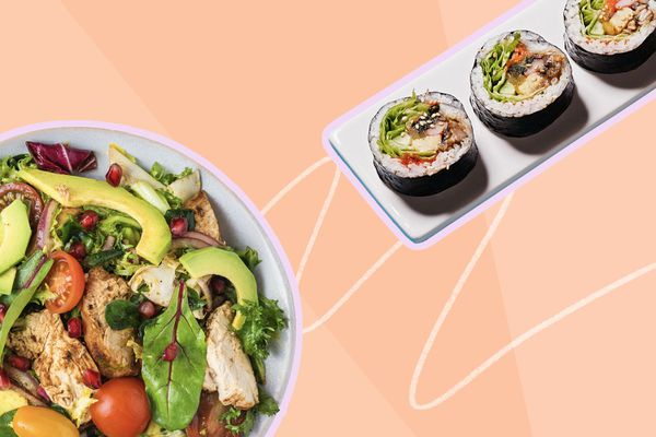 Photo composite of a salad and a sushi roll.