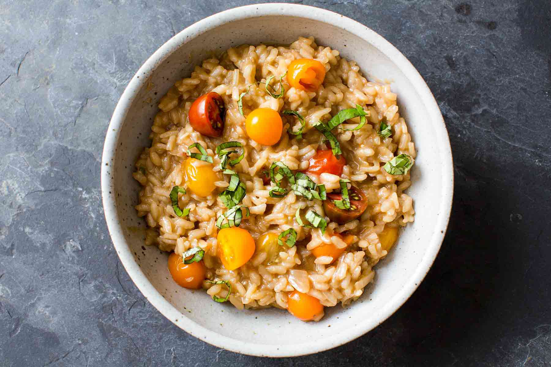 Balsamic Risotto with Tomatoes and Basil
