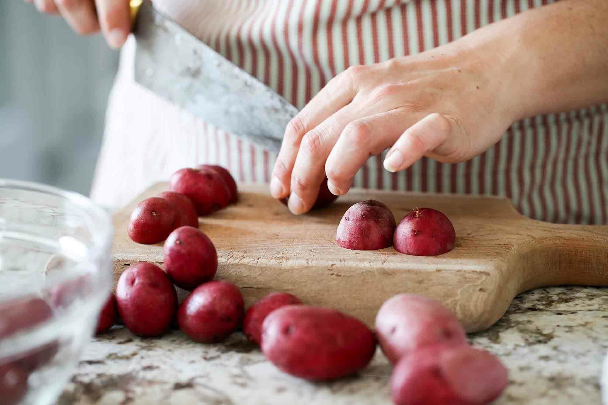 Sous Vide Roast Potatoes prep the potatoes