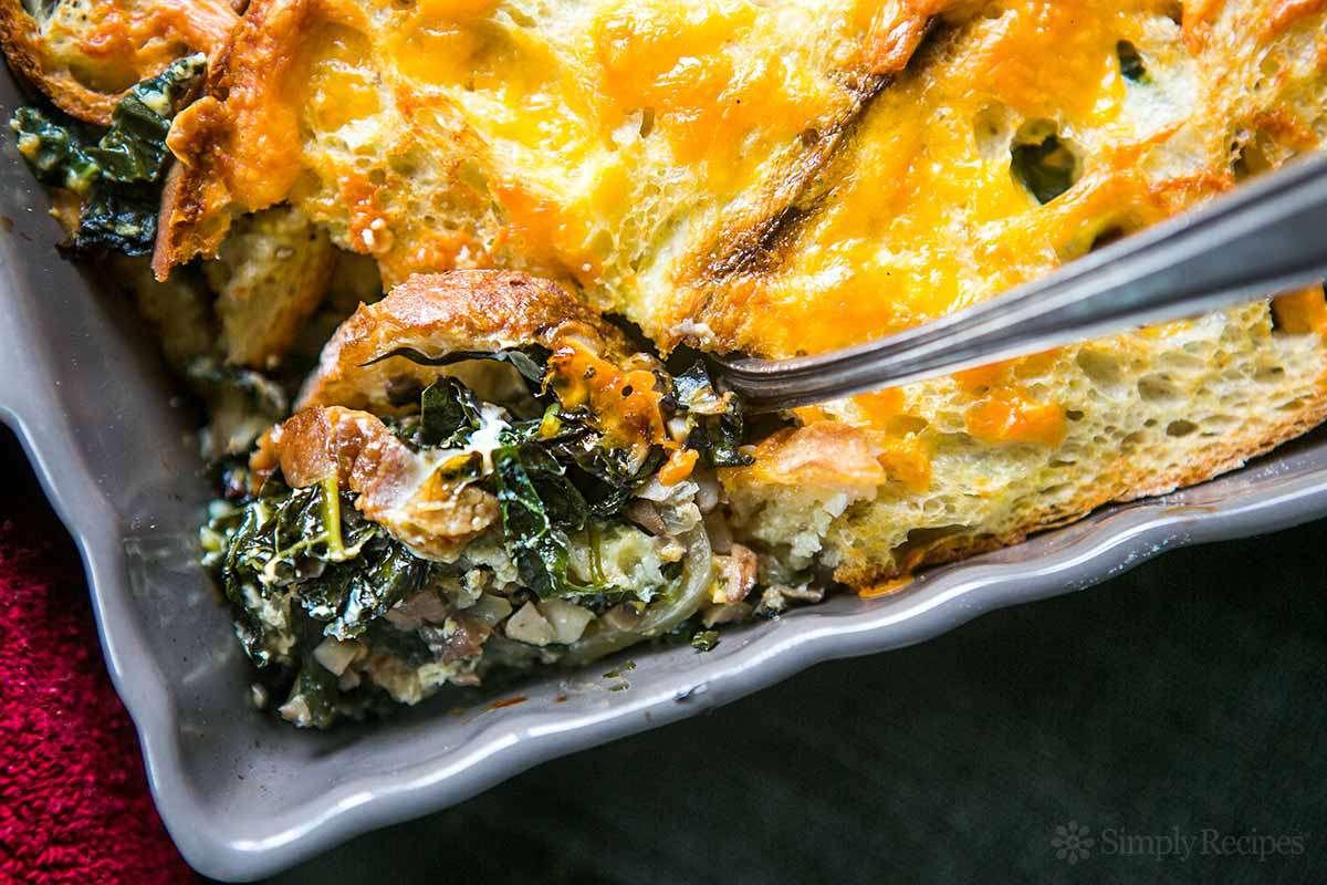 Kale Mushroom Cheddar Bake