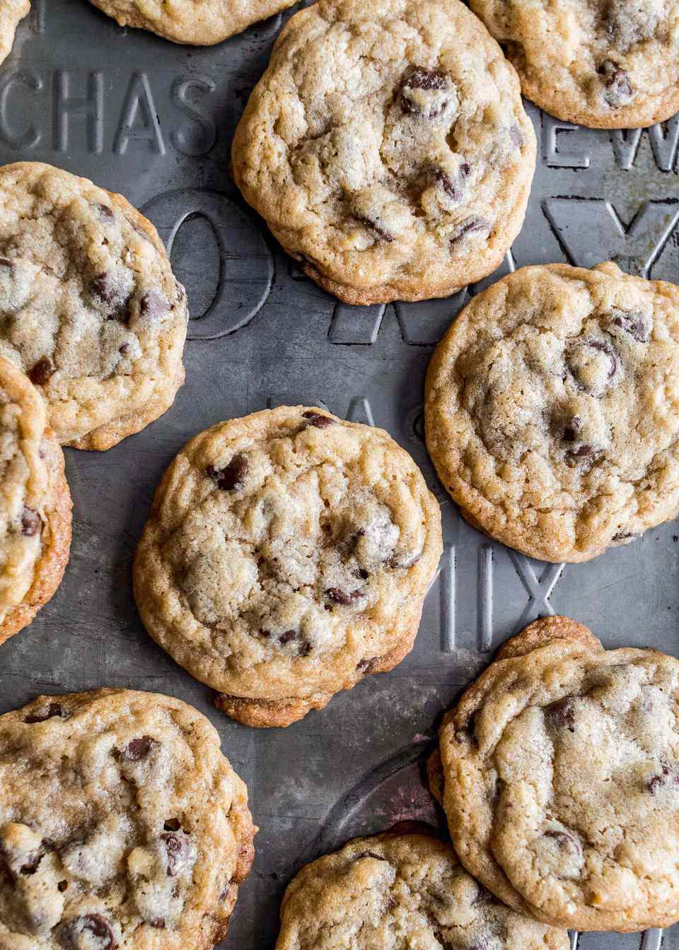 Overhead view of chocolate chip cookies.